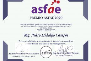 Mg. Pedro Hidalgo recibe  reconocimiento de ASFAE 2020